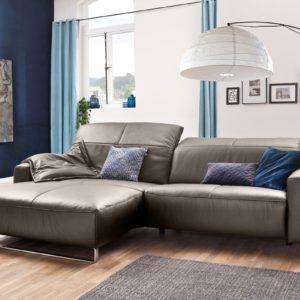 KAWOLA Sofa YORK Leder Life-line bisquit Rec links Fuß Metall Chrom matt