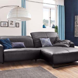 KAWOLA Sofa YORK Leder Life-line mocca Recamiere rechts Fuß Metall schwarz
