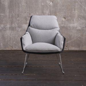 KAWOLA Sessel SONNY Relaxsessel Stoff grau mit schwarzer Schale