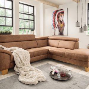 KAWOLA Sofa PINTO Ecksofa Microfaser braun Recamiere rechts 272 x 82 x 241cm (B/H/T)