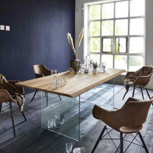 KAWOLA Esstisch MILU Tisch Eiche massiv Füße Glas 180x100