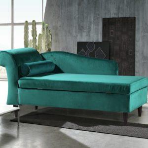 KAWOLA Polsterliege SARAH Ottomane Recamiere Stoff grün 163x77x73cm