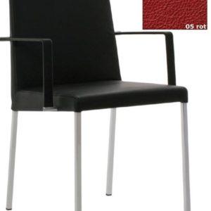 KFF Spring Nova mit Armlehnen, Gestell Chrom - Leder - Rot 05