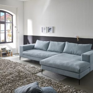 KAWOLA Ecksofa RORA Couch Recamiere rechts Stoff silbergrau