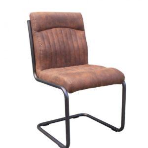 4x Stuhl Taxo Esszimmerstuhl Freischwinger Kunstleder braun