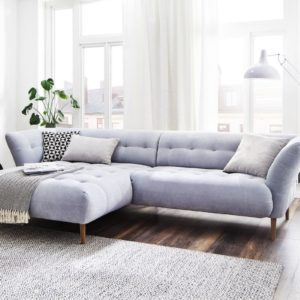 KAWOLA Ecksofa NALA Sofa Longchair links Stoff hellblau