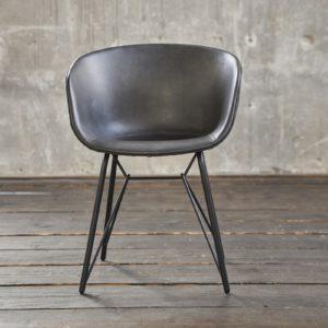KAWOLA Stuhl DANI Esszimmerstuhl Vierfuß Kunstleder grau