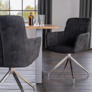 KAWOLA Stuhl NIXIE mit Drehfunktion Stoff schwarz