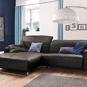 KAWOLA Sofa YORK Leder Life-line grey Rec links Fuß Metall Chrom matt mit Sitztiefenverstellung