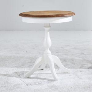 Beistelltisch LARO Couchtisch in weiß Topplatte in Eiche Natur 60x66x60cm (B/H/T)