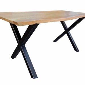 Esstisch 180x90cm massiv nussbaumfarbig mit Baumkante Kreuzfuß schwarz