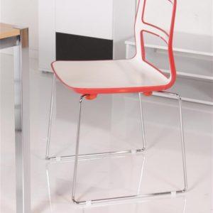DUETTO Stuhl für Bistro / Besprechung - Rot - Weiß