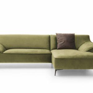 KAWOLA Ecksofa TUNIA Sofa Recamiere rechts Stoff Velvet grün