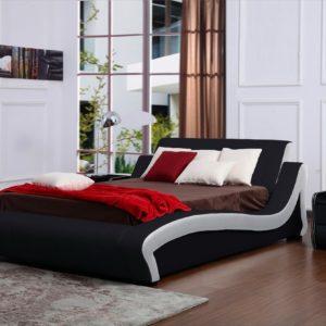 Polsterbett schwarz / weiß 140 x 200 cm HONEYMOON - Kasper Wohndesign