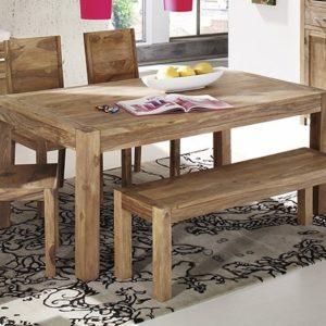 Essgruppe Sheesham SIT Wiam Tisch 140/Bank 140/4 Stühle