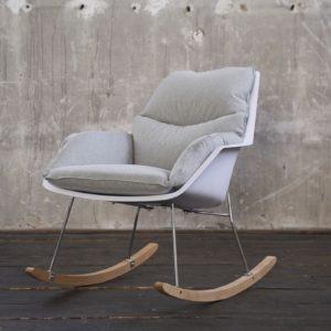 KAWOLA Stuhl SONNY Schaukelstuhl Stoff grau mit weißer Schale