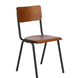 KAWOLA Klassenzimmerstuhl Vintage DISCERE Stuhl Metallgestell schwarz