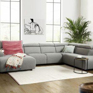 KAWOLA Sofa RISO Wohnlandschaft U-Form Stoff Longchair links grau