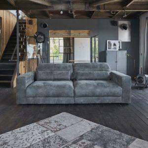 Sofa Ledersofa GIGANT 3,5-Sitzer inkl. 2 Kissen Leder anthrazit