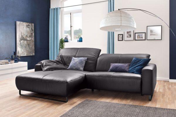 KAWOLA Sofa YORK Leder Life-line mocca Recamiere links Fuß Metall schwarz