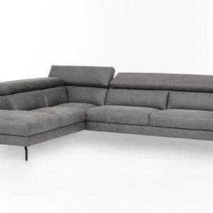 KAWOLA Ecksofa CALINA Sofa Recamiere links Microfaser grau