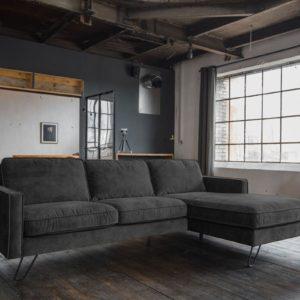 KAWOLA Ecksofa ELINA Sofa Recamiere rechts Velvet anthrazit (B/T):282x176cm