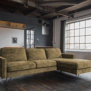 KAWOLA Ecksofa ELINA Sofa Recamiere rechts Velvet moosgrün (B/T):242x176cm