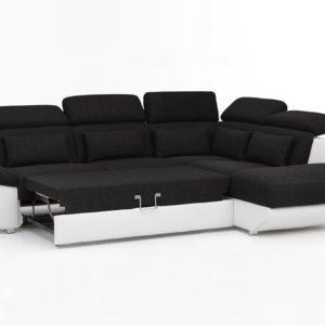 KAWOLA Ecksofa MOMO Sofa mit Schlaffunktion Recamiere rechts Bezug weiß/anthrazit