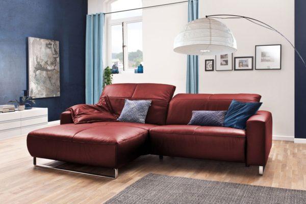 KAWOLA Sofa YORK Leder Life-line cherry Rec links Fuß Metall Chrom matt mit Sitztiefenverstellung