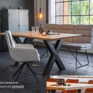 KAWOLA Esstisch Leonard Tisch Platte Eiche gerade Kante Metall X-Fuß 200x100cm