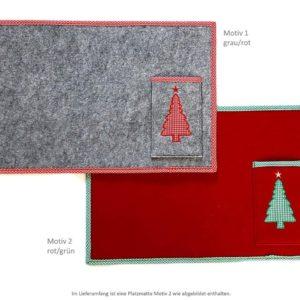 Tischset Tischmatte Platzmatte mit Tasche Weihnachten rot/grün