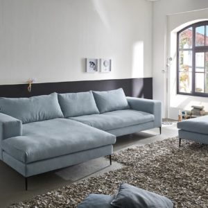 KAWOLA Ecksofa RORA Couch Recamiere links inkl. Hocker Stoff silbergrau