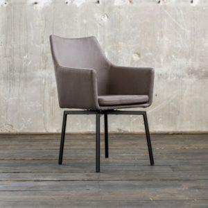 Stuhl Cali Sessel Microfaser Esszimmerstuhl dunkelgrau Füße matt-schwarz