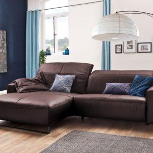 KAWOLA Sofa YORK Leder Life-line bordeaux Rec links Fuß Metall schwarz mit Sitztiefenverstellung