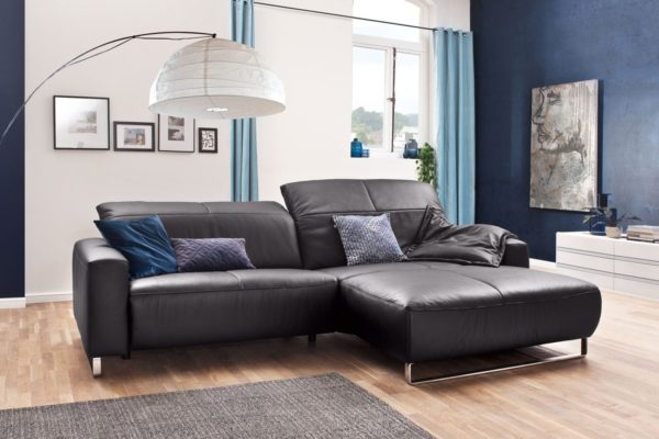 KAWOLA Sofa YORK Leder Life-line mocca Rec rechts Fuß Metall Chrom matt mit Sitztiefenverstellung