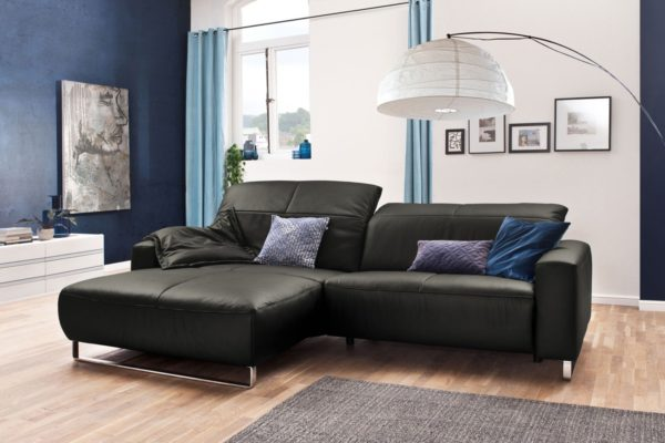 KAWOLA Sofa YORK Leder Life-line fango Rec links Fuß Metall Chrom matt mit Sitztiefenverstellung