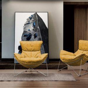 KAWOLA Sessel FINA Polstersessel Metallgestell Microfaser gelb