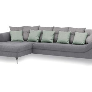 KAWOLA Ecksofa TENIO Sofa Recamiere rechts Stoff grau/mint
