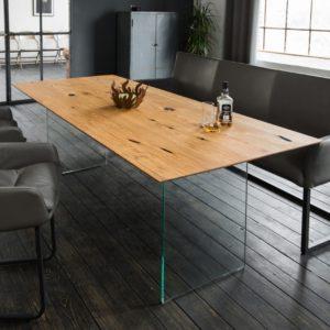 KAWOLA Esstisch MELA Tischplatte Alt Eiche geölt Fuß Glaswange 225x100 (L/B)