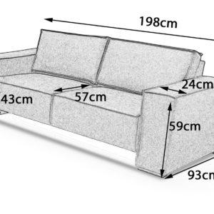 KAWOLA LINO Sofa 198 cm, Sofa 168 cm und Sessel anthrazit