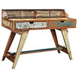 KAWOLA Schreibtisch MARLA Sekretär recyceltes Holz Shabby Chic 125x50x88cm (L/B/H)