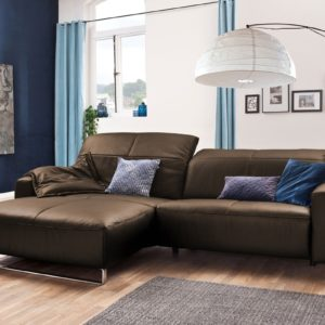 KAWOLA Sofa YORK Leder Life-line hasel Rec links Fuß Metall Chrom matt