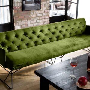 KAWOLA Esszimmerbank CHARME 206cm Stoff Velvet green