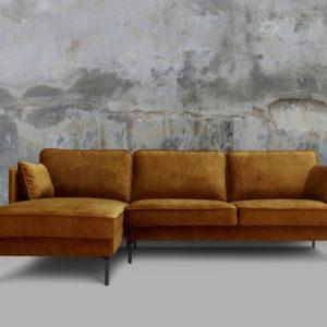 KAWOLA Sofa VINCENT Ecksofa Stoff Velvet cognac Recamiere links