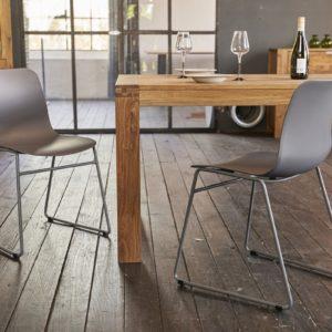 KAWOLA Stuhl DENNIS Esszimmerstuhl Kunststoff grau