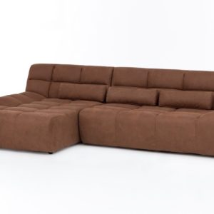 KAWOLA Ecksofa SETO Big Sofa Recamiere links Microfaser brandy