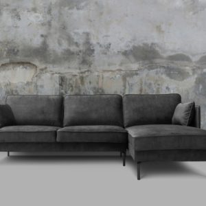 KAWOLA Sofa VINCENT Ecksofa Stoff Velvet anthrazit Recamiere rechts