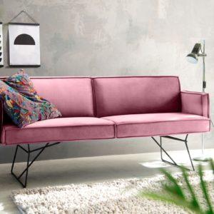 KAWOLA Esszimmerbank JASPER Stoff Velvet rosa 216cm