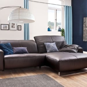 KAWOLA Sofa YORK Leder Life-line chocolate Rec rechts Fuß Metall Chrom matt mit Sitztiefenverstellung