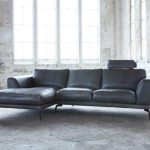 KAWOLA Ecksofa DESIDE Sofa Recamiere links inkl. Kopfstütze Leder schwarz